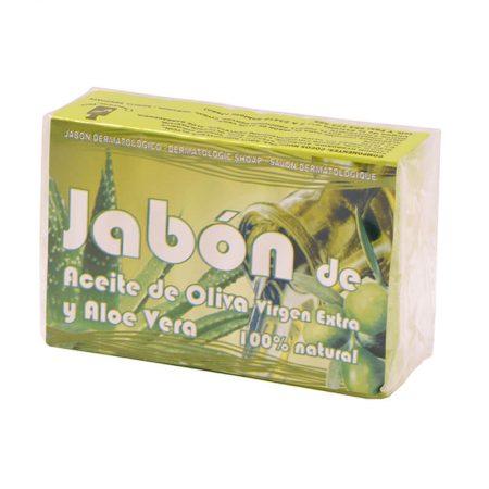 Jabón natural de aceite de oliva virgen extra y aloe vera de Cosmética Olivo