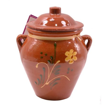 Bote de cerámica con miel cruda multifloral