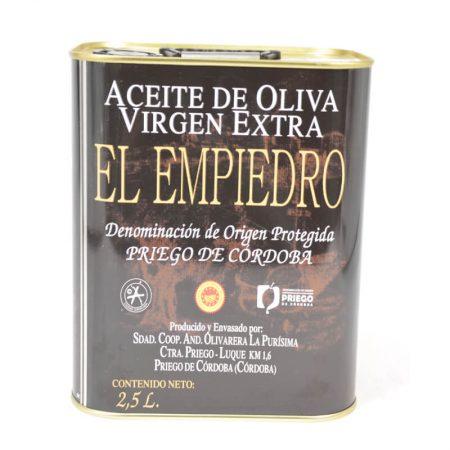 Lata de 2,5 l de aceite de oliva del Empiedro