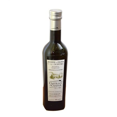 Bottle of arbequina extra virgin olive oil from Castillo de Canena