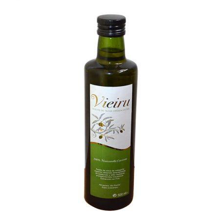 Botella de aceite de oliva manzanilla cacereña Vieiru