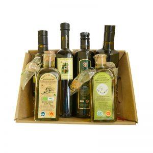 cesta de regalo con aceites de oliva virgen extra