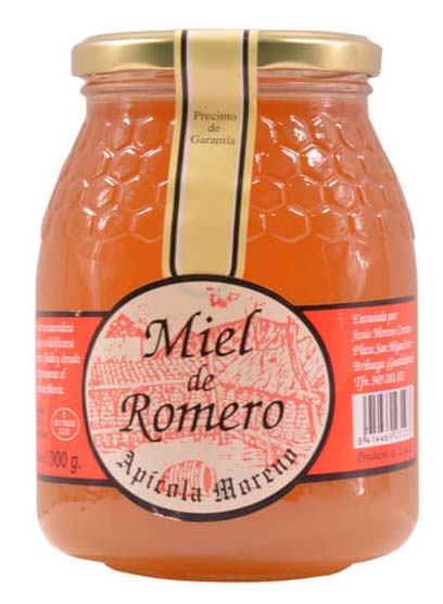 bottle of rosemary honey of Apícola Moreno, one of the best honeys