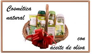 cesta de mimbre con la mejor cosmética elaborada con aceite de oliva