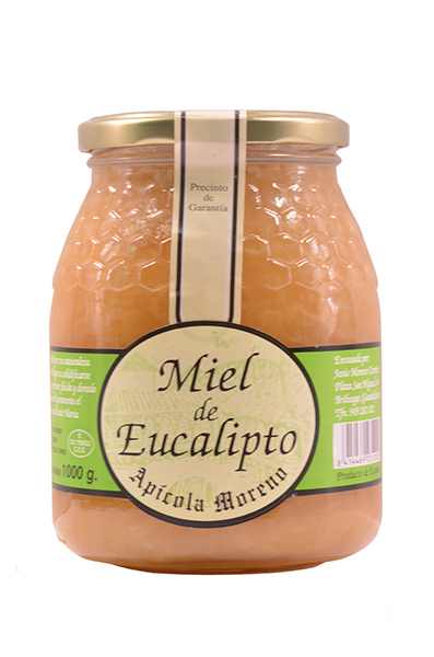 bottle of eucalyptus honey of Apícola Moreno