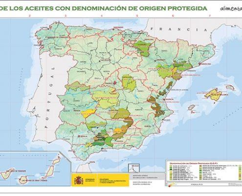 Mapa de las denominaciones de origen de aceite de oliva