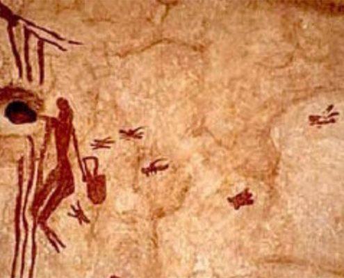 curiosidades de la miel, pinturas rupestres las paredes de las cuevas de Araña